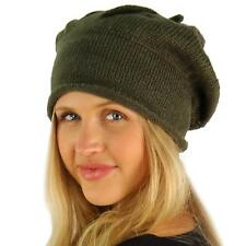 Winter Warm Tight Knit Stretchy French Basque Beret Slouch Beanie Hat Cap Olive