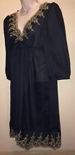 H&M Dress Black Empire Waist Baby Doll 3/4 Sleeve Sheer Size 12