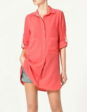 NEW NWT ZARA PEACH CORAL TUNIC TOP BLOUSE SHIRT DRESS S SMALL 8 10 4 6 36 38