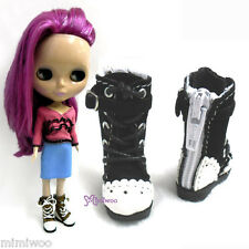 16cm Lati Yellow Basic Bjd Blythe Pullip Doll Shoes Velvet Shoelace Boots BLACK