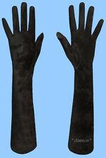 NEW WOMENS size 7.5 GENUINE EXTRA LONG BLACK SUEDE LEATHER GLOVES-SILK LINING