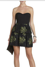 "$338 BCBG BLACK COMBO ""TIA"" LACE  EMBROIDERED PEPLUM STRAPLESS DRESS NWT 0P"