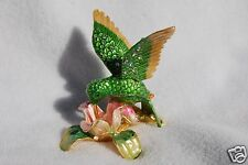 SWAROVSKI CRYSTAL BEJEWELED ENAMEL HINGED TRINKET BOX -GREEN HUMMING BIRD