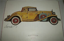 1932 Cadillac  Lasalle Roadster car print (yellow, white top)