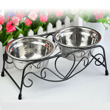 Stainless Steel Double Dog Cat Food Water Bowls Feeder Dishes Shelf Stand Iron