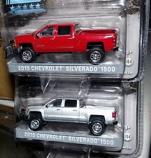 Greenlight 2015 Chevy Silverado 1500 Lift Kit & Snowplow you pick RED or SILVER