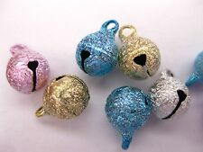 100 Stardust JINGLE BELLS~ Mixed Colors~Beads Charms 8mm Decoration DIY Craft