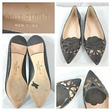 Kate Spade New York black leather pointed toe flats shoes heels size 7M