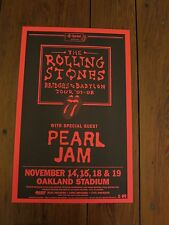 ROLLING STONES PEARL JAM BILL GRAHAM OAKLAND CONCERT POSTER 1ST PRINT MINT RARE