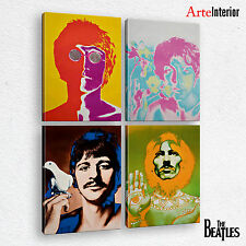 QUADRO MODERNO - THE BEATLES - 4 pz Stampa su tela CANVAS 100x140 ARTE ARREDO