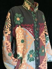Anage Quilted Appliqué Coat Jacket Satin Lined Women's Large L