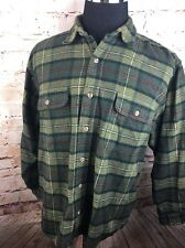 Field and Stream Shirt XL Olive Green Heavy Flannel Plaid Lumberjack Cotton C3