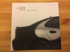 SAAB 93 9-3 Sport Saloon 2002 1.8 2.0 T 2.2 TiD UK Sales Price List Brochure