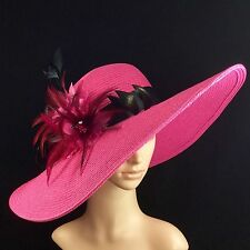 NEW Church Kentucky Derby Pink Hat Feathers Wide Brim Dress Wedding Tea Party