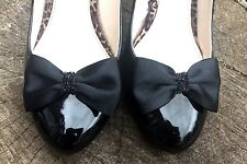 Black Shoe Clips for Shoes Prom Shoe Bows Satin Shoe Clips Burlesque Pinup