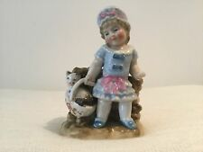 FIGURINE. GIRL. CAT. VASE. CONTA & BOEHME SAXONY. GERMANY.