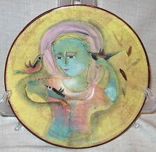 "Polia Pillin 9 1/4"" Art Pottery Plate with Woman and Birds"