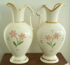 Vintage Set of 2 Hand Painted Pitcher Vases 24 Karat Gold Edging