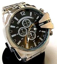 Men's Large Watch Montres Carlo MC42631 Silver Metal Bracelet Band Black Dial