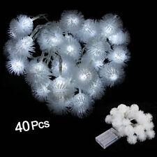 40 LED 4M Tira de Luz Blanco Forma de Nieve para Decoración CU