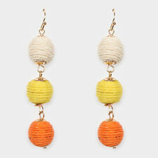 Gold Cream Yellow and Orange Triple Thread FASHION Earrings