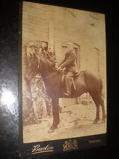 Old cabinet photograph man on a horse by Bustin at Hereford c1890s