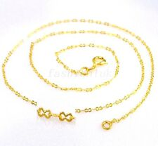 "Women New 24K Yellow Gold Plated 17.5"" 45cm SS small Part Classic Chain Necklace"