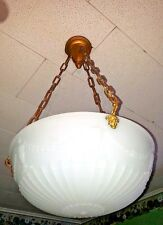 Antique Frosted Opaline Glass Globe/Shade Ceiling Light Fixture Chandelier