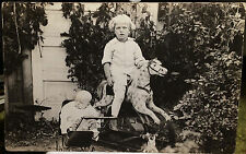 Child Riding HOBBY HORSE / ROCKING HORSE TOY, Photo Post Card 1918-30