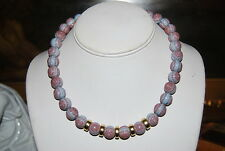 VINTAGE MONET BLUE & RED BEADS WITH GOLD TONED ACCENT NECKLACE GOOD FOR JEANS