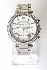 Michael Kors Damen Uhr Chronograph Datum silber weiß Edelstahl Steine MK5353