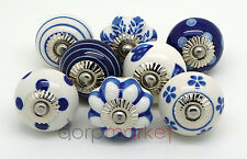 Set of 8 Navy Blue and White Ceramic Door Knobs by Dorpmarket