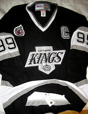 VTG CCM LA LOS ANGELES KINGS STANLEY CUP LOGO GRETZKY FIGHT STRAP SEWN JERSEY-48
