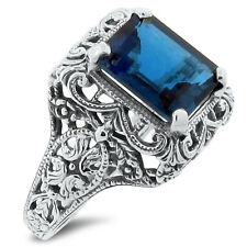 4 Ct GENUINE LONDON BLUE TOPAZ ANTIQUE STYLE .925 SILVER RING SIZE 8,    #164