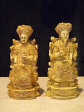 ANTIQUE  HAND CARVED EMPEROR AND EMPRESS ASIAN ART