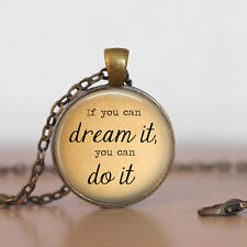 Vintage Quote Cabochon Bronze Glass Chain Pendant Necklace kv46