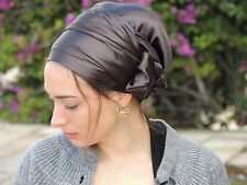 Deep Brown Stretched SATIN SINAR Hair Snood, Head Scarf,Head Covering,jewish Hat