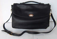Vintage Black Leather Briefcase/Messenger Bag/Cross body Bag