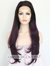 Women's Synthetic Hair Front Lace Wigs Ombre Purple Natural Straight Heat Safe