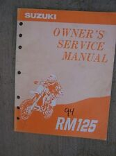 1994 Suzuki Competition Performance Motorcycle Owner Service Manual RM125 Bike L
