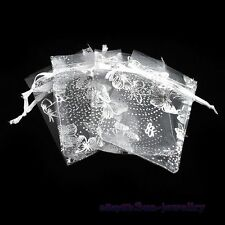 50pcs Butterfly White Organza Gift Bags 7x9cm Wedding/Christmas Favor 120371