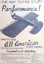 Vintage ALL AMERICAN STUNT & TRAINER deBolt UC TWO Great Model Airplane PLANS