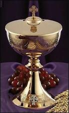 """Solid Brass w 24KT Gold Plating Etched Celtic Cross Ciborium with Cover  9 1⁄4""""H"""