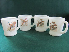 SET OF 4 ANCHOR HOCKING FIRE KING D HANDLED COFFEE MUGS W GAME BIRDS