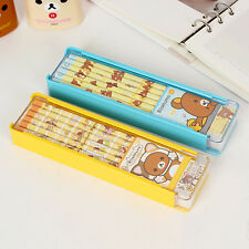 Cute Rilakkuma Stationery set - 1x Slide Pencil case 6x Wooden Pencil 1x Eraser