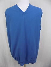 I29 Mens Ping Golf V Neck Vest Blue Sleeveless Sweater 100% Cotton Made in USA L