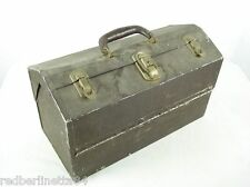 """Vintage 17"""" KENNEDY Cantilever Tray Alminum Fishing Tackle Box Leather Handle"""