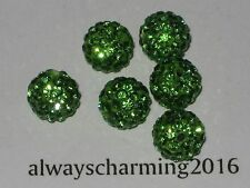 10MM ROUND RHINESTONE PERIDOT 6 BEADS FOR SPARKLE NECKLACE, EARRINGS OR BRACELET