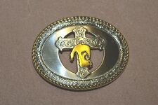 Praying Cowboy Antique Silver Gold Plaited Trophy Belt Buckle new uk stock