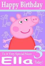 Personalised Birthday Card 1 'PEPPA PIG'  ANY NAME,AGE,RELATVE